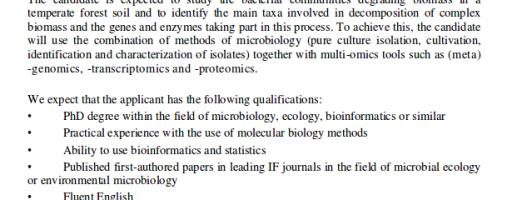 Postdoctoral en ecología bacteriana