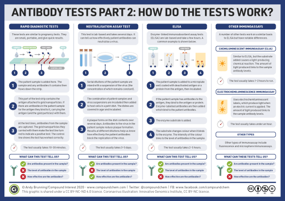 Infographic on how antibody tests work. Rapid diagnostic tests are similar to pregnancy tests. The patient sample flows down a strip, and if the sample contains antibodies they bind to the test strip. Gold nanoparticles carried with the antibodies turn the test line red to indicate a positive test. These tests only tell us if antibodies are present. Neutralisation assay tests involve mixing serial dilutions of the patient sample with a suspension of the virus. If antibodies are present they reduce the plaques that form when the samples are incubated, which can tell us about antibody effectiveness. Enzyme-linked immunoabsorbent assay tests (ELISA) involve adding a patient sample to a microplate coated with deactivated antigen. If the sample contains antibodies, they bind to the antigen. Enzyme-labelled antibodies bind to the patient antibodies, then an enzyme substrate is added which changes colour when it binds to the enzyme. This gives information on the level of antibodies in the sample. A number of other tests work on a similar basis to ELISA but with slight differences.