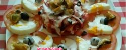Ensalada de garbanzos con carpaccio de tomate