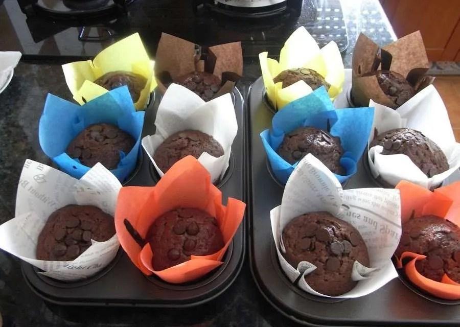 Muffins de plátano, cacao y kéfir