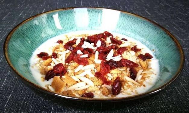 Kéfir de cabra con germen de trigo y cranberries