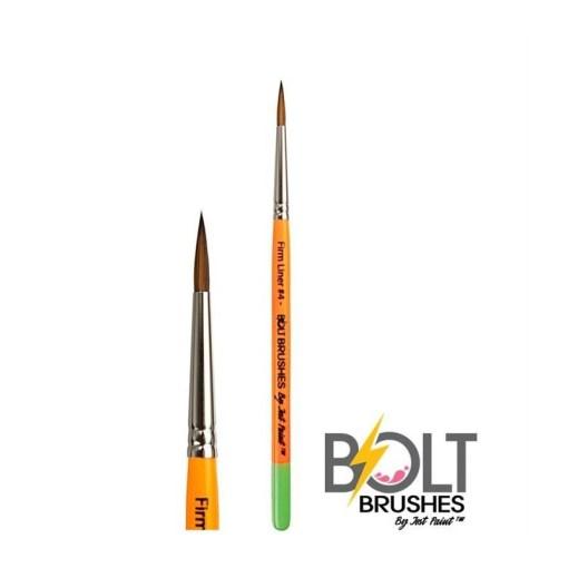 ¡El cepillo No. 4 Firm Liner de Bolt es perfecto para las lágrimas, los remolinos y los giros!  <strong>El pincel que se muestra es una imagen completa y un plano cercano. El precio indicado es para un pincel.</strong> PINCELES PARA PINTAR CARAS DE JEST PAINT - FIRM LINER 4