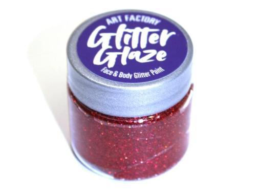 Art Factory Glitter Glaze es ideal para agregar acentos brillantes a tus diseños de pintura facial o para crear diseños completos con brillo. Esta pintura con brillo funciona mejor con niños mayores, ya que toma tiempo para que el producto se seque sobre la piel Glitter Glaze Face & Body Glitter Paint - Red
