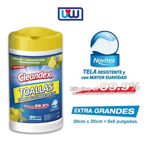"""cleandex <h1 class=""""item-title__primary """">Cleandex Limón Antibacterial Toallas Para Superficies, Caja 6pz</h1> <strong>Por el momento el producto esta AGOTADO, volveremos a tener existencia en PROXIMO VIERNES 10 DE ABRIL, puedes APARTAR tu compra.</strong>  ATRIBUTOS Toallas Húmedas Cleandex Limón para superficies  + Elimina el 99.9% de los gérmenes más comunes. + Limpian, desinfectan, desodorizan. + Extra Grandes. + Tela resistente y suave. _____________________________________  Consume lo hecho en México.  <strong>PRECIO ESPECIAL A MAYORISTAS</strong> <a href=""""mailto:mayoreo@comprastodo.com""""><strong>mayoreo@comprastodo.com</strong></a> <strong>SOMOS FABRICANTES</strong> Cleandex Limón Toallas Antibacterial Para Superficies, Caja 6pz"""