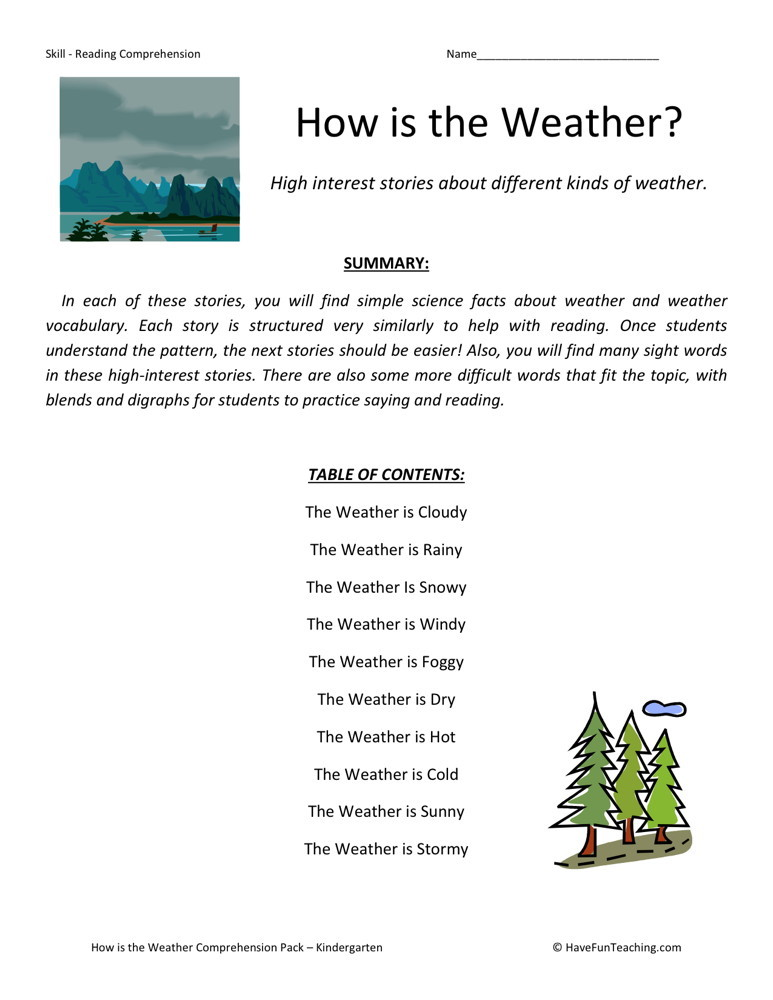 weather folklore worksheet
