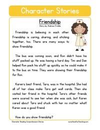 Reading Comprehension Worksheet - Friendship