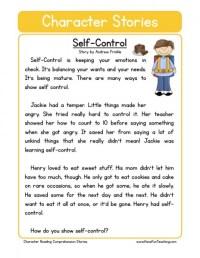 Reading Comprehension Worksheet - Self-Control