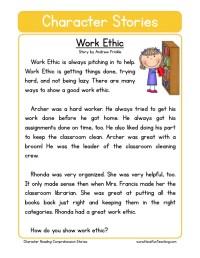 Reading Comprehension Worksheet - Work Ethic
