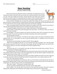 Reading Comprehension Worksheet - Deer Hunting