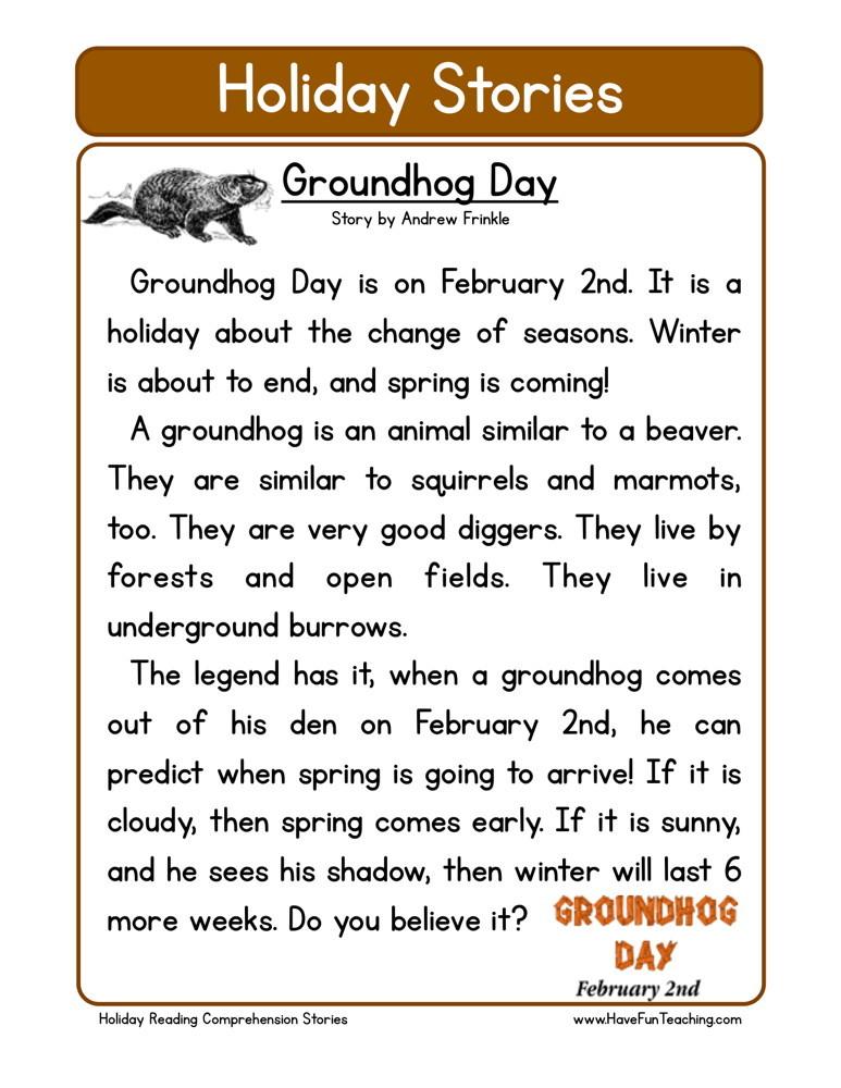 Groundhog Day Reading Comprehension Worksheet