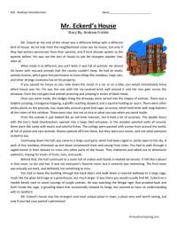 Reading Comprehension Worksheet - Mr. Eckerd's House