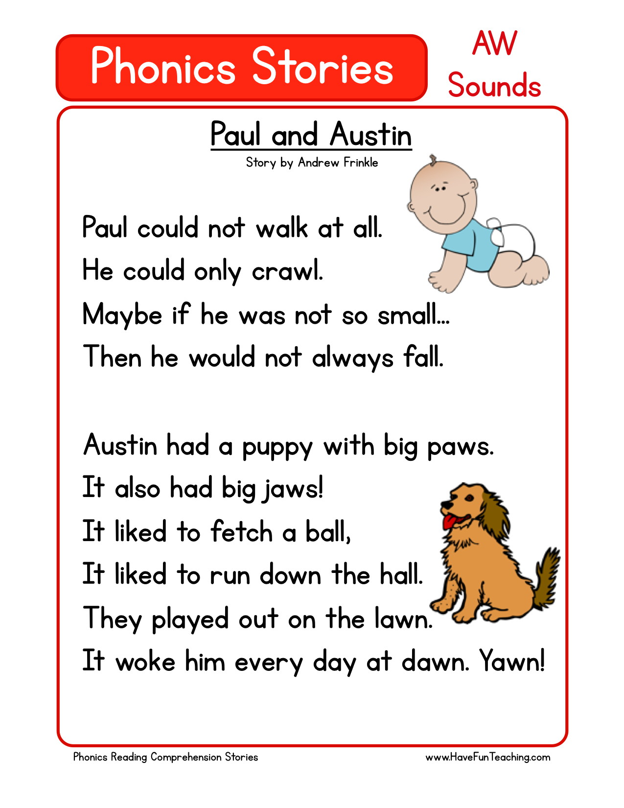 Printable Kindergarten Reading Stories