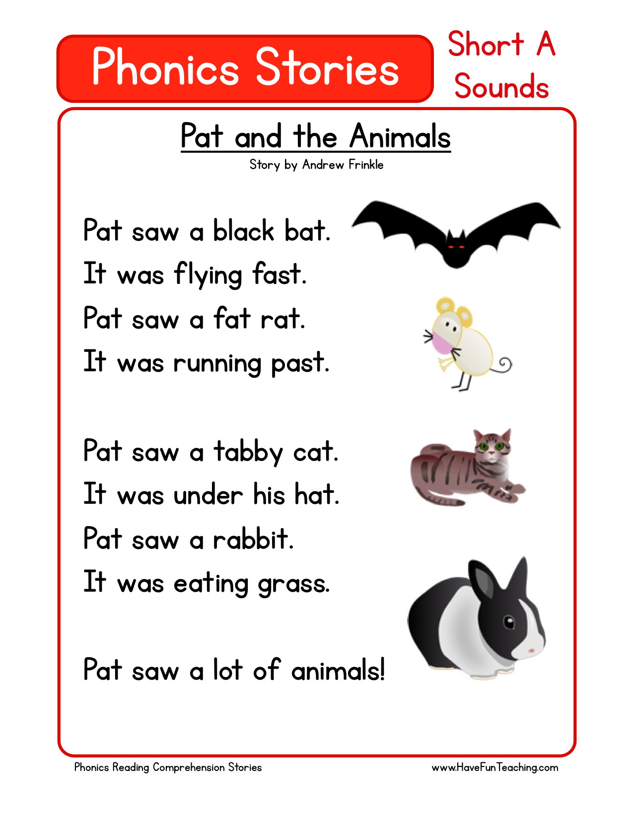 Kindergarten Reading Worksheet Animals
