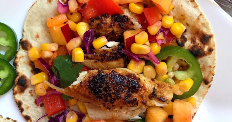 Fish Tacos with Corn & Necatrine Salsa