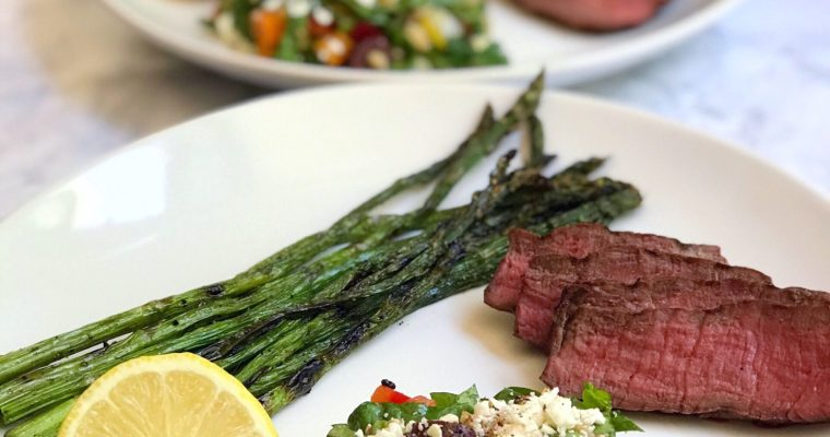 Grilled Sirloin with Mediterranean Farro Salad