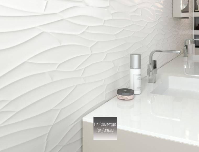 faiences murales blanc 3d diamant