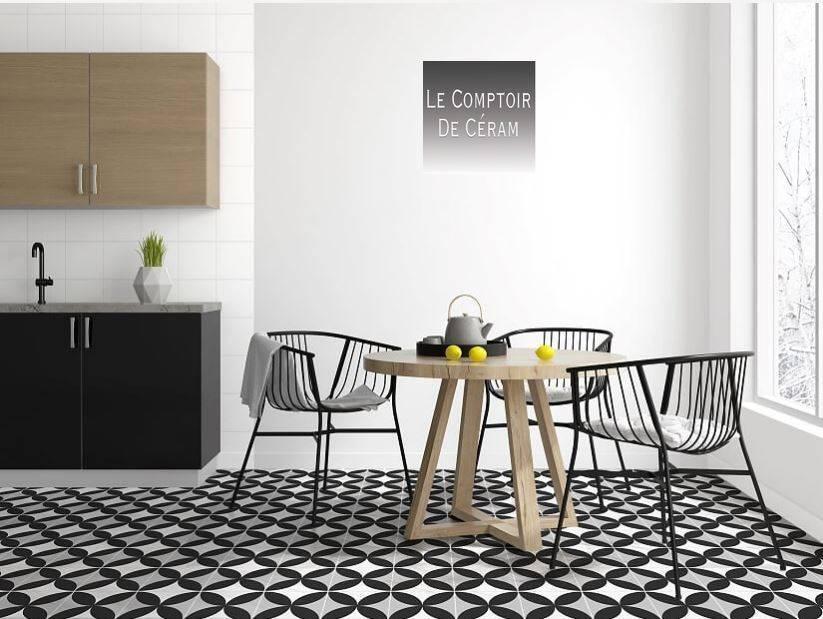 carrelage noir et blanc ligne motif