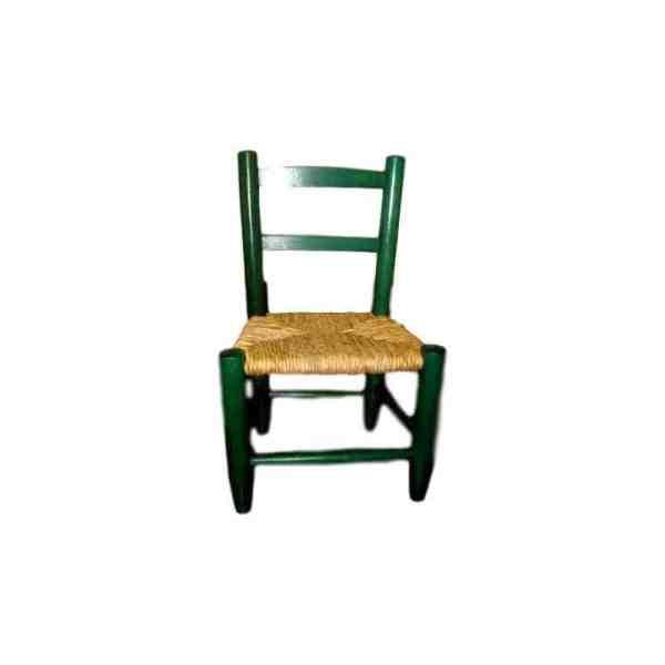 Chaise enfant en bois verte