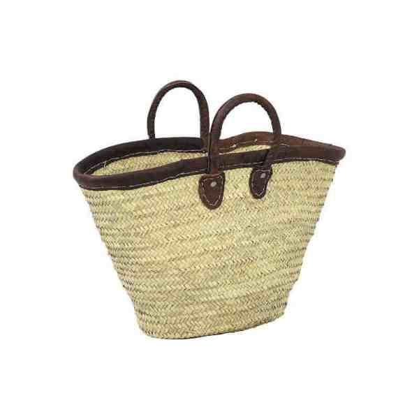 Cabas en palme, tour cuir, anses cuirs