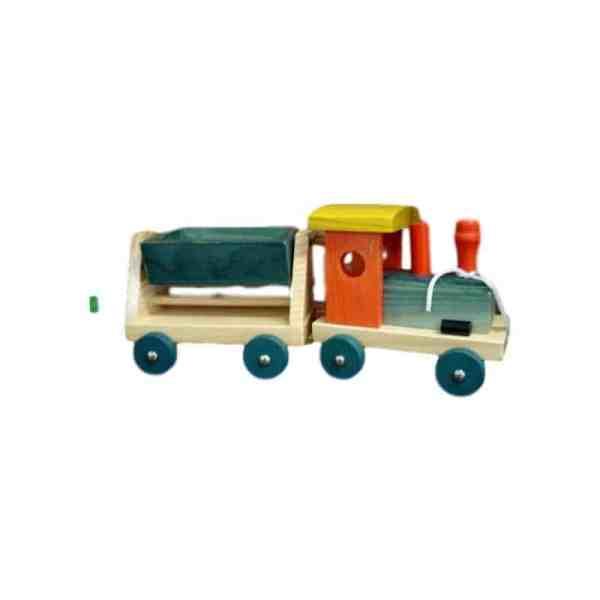 Train de chantier en bois, multicolor