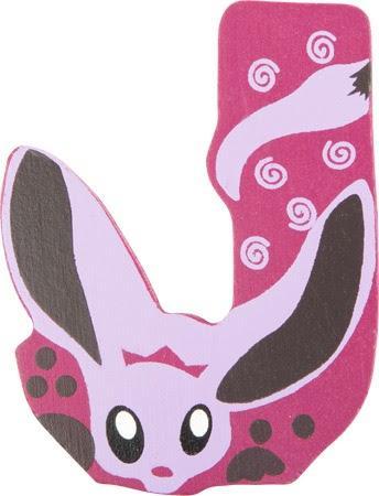 Lettre J en bois rose motif grand animal 7cm