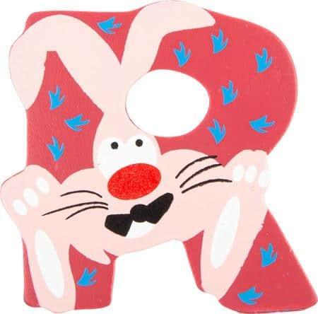 Lettre R en bois rouge motif grand lapin 7cm