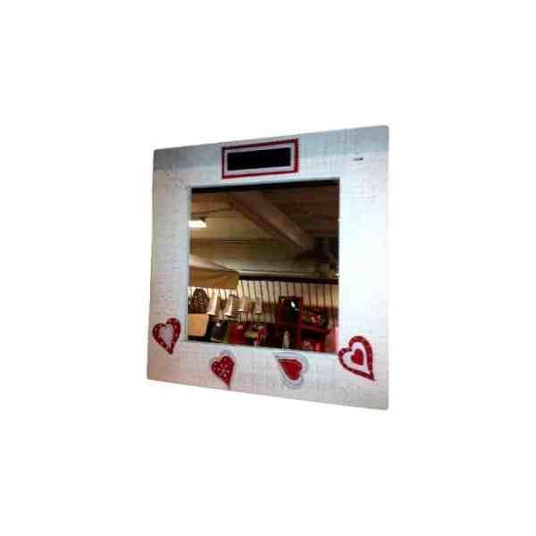 Miroir carré en bois blanc