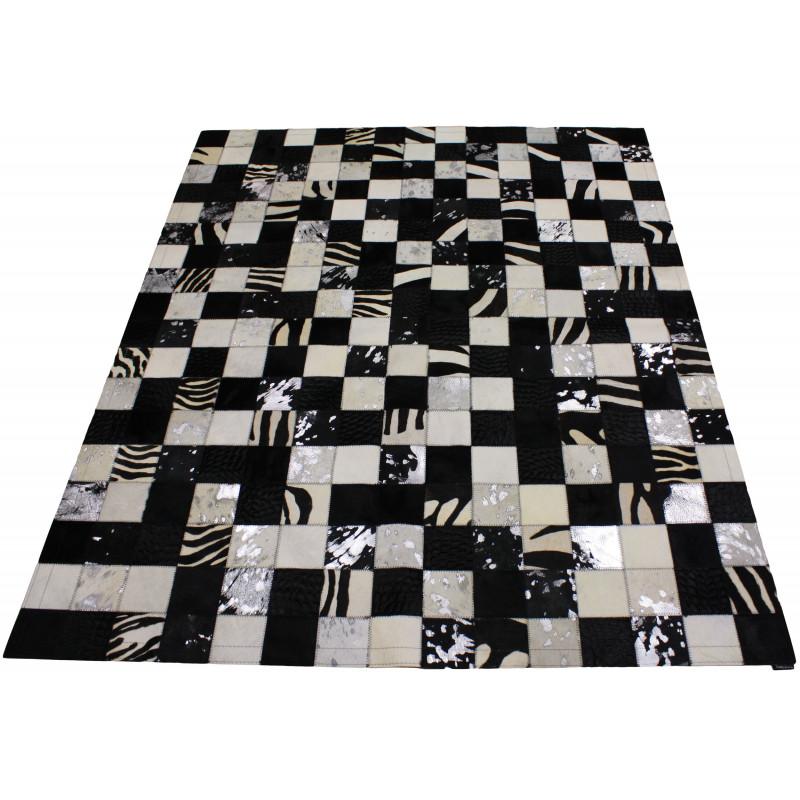 tapis en peau de vache patchwork noir blanc tergus comptoir des lustres