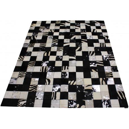 tapis en peau patchwork noir blanc tergus