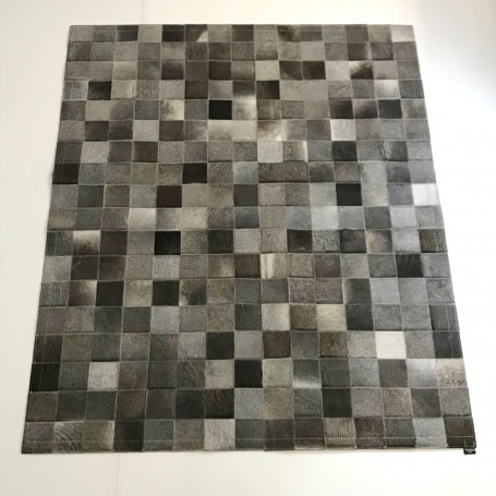 tapis en peau patchwork gris tergus