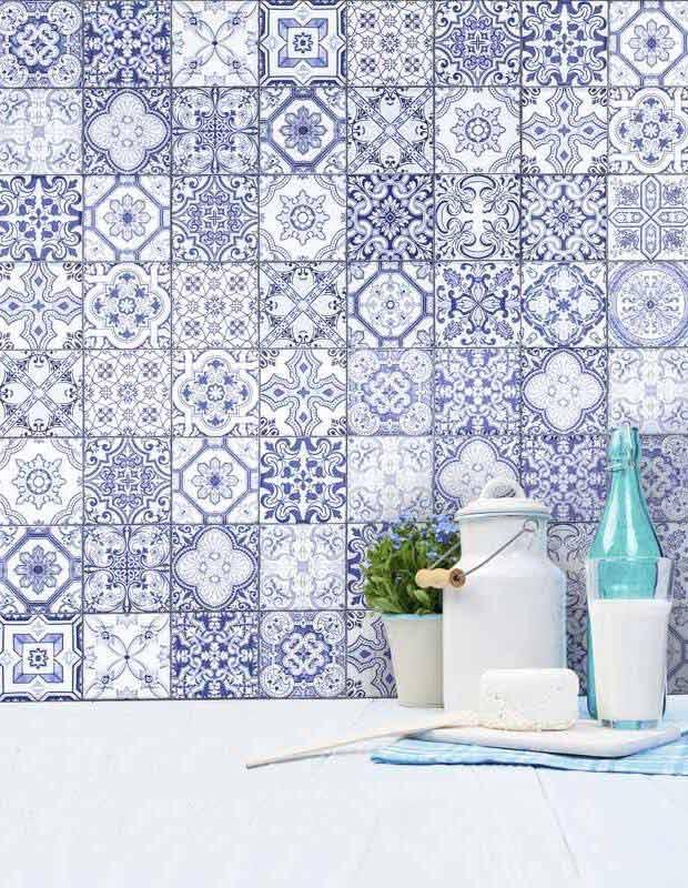 carrelage mural azulejo bleu patchwork ar3501001