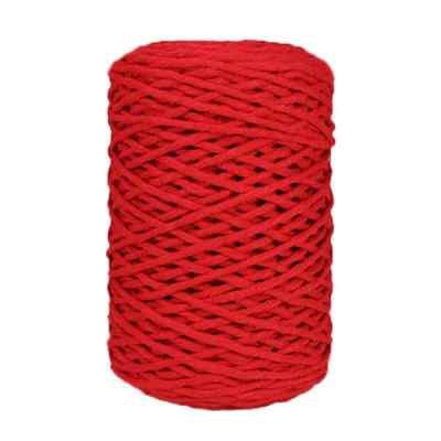 Coton bitord, barbante, fil de coton recyclé, 3 mm, rouge