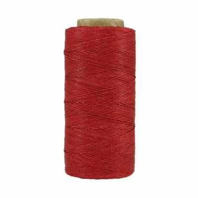Fil de lin ciré - Rouge cerise - Bobine 100% lin - Micro-macramé, bijoux, couture, reliure, maroquinerie