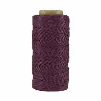 Fil de lin ciré - Aubergine - Bobine 100% lin - Micro-macramé, bijoux, couture, reliure, maroquinerie