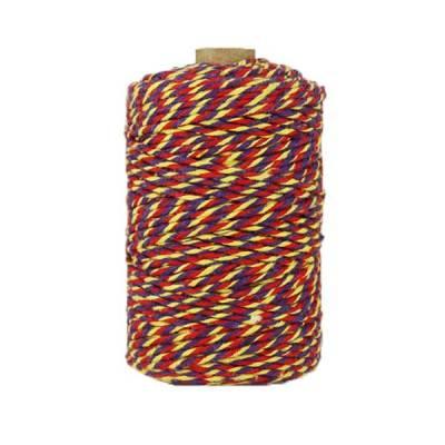 Ficelle Baker Twine - 2mm - Violet jaune rouge