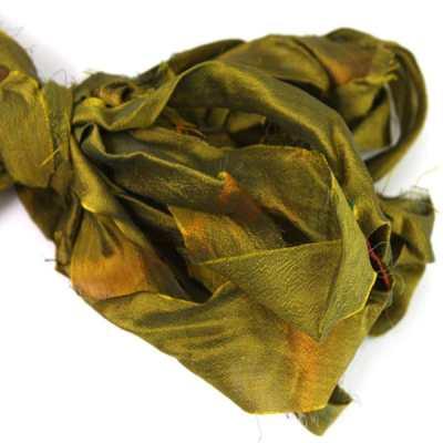 Ruban de soie de sari vert pour couture, bijoux, artisanat, art textile