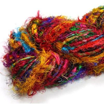 Fil de soie de sari filé main pour tricot, artisanat, art textile, création de bijoux