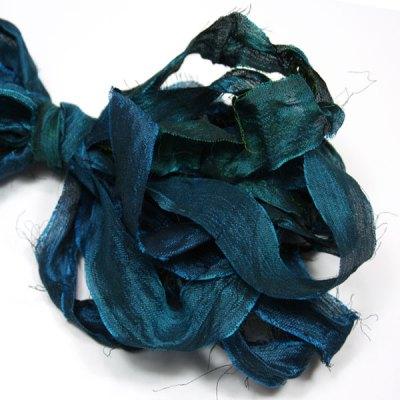 Ruban de soie de sari bleu paon pour couture, artisanat, art textile, création de bijoux
