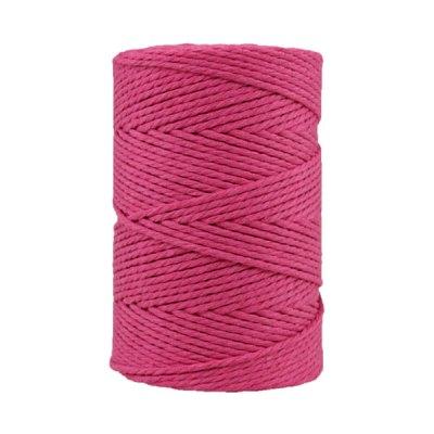 Corde macramé artisanale - Coton - Cordon - Ficelle - Fil 3 mm - Rose Hollywood