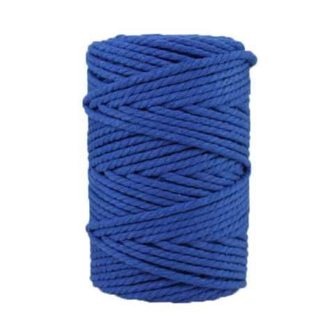 Corde macramé artisanale - Cordon - Ficelle - Fil de coton torsadé 4 mm - Bleu saphir