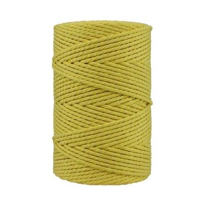 Corde macramé artisanale - Coton - Cordon - Ficelle - Fil 3 mm - Jaune mimosa