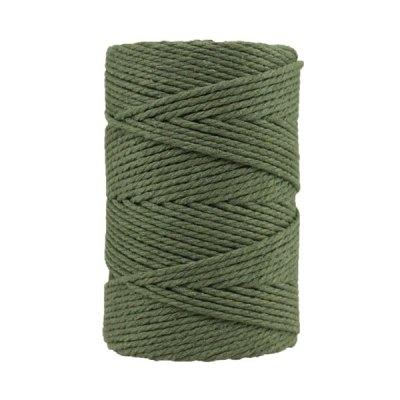 Corde macramé artisanale - Coton - Cordon - Ficelle - Fil 3 mm - Vert militaire