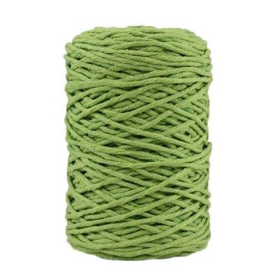 Coton bitord, barbante, fil de coton recyclé, 3 mm, vert anis