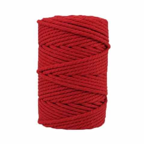 Corde macramé artisanale - Cordon - Ficelle - Fil de coton torsadé 4 mm - Rouge cardinal