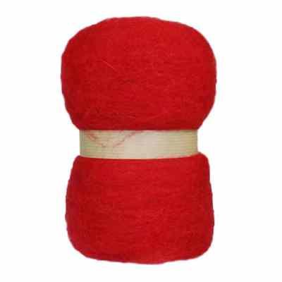 Laine cardée en nappe - Rouge coquelicot