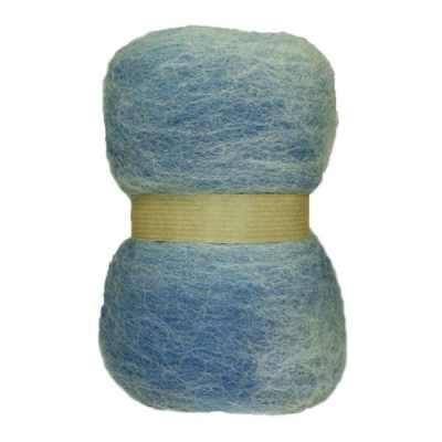 Laine cardée en nappe - Bleu horizon