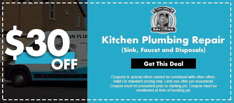 discount on kitchen plumbing repair service in Mesa, AZ