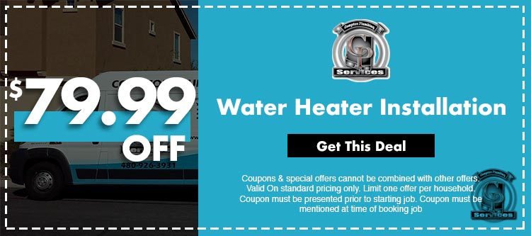 discount on water heater installation in Mesa, AZ