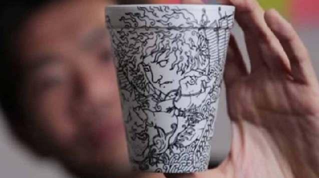 Art Drawn on a Styrofoam Cup
