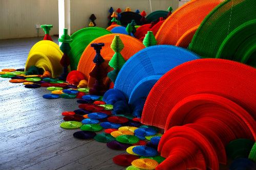 Colorful Honeycomb Sculpture